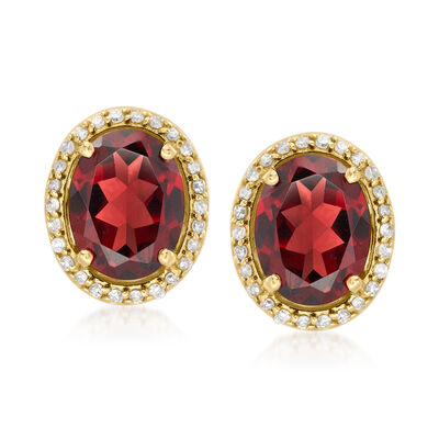 4.40 ct. t.w. Garnet and .21 ct. t.w. Diamond Earrings in 14kt Yellow Gold
