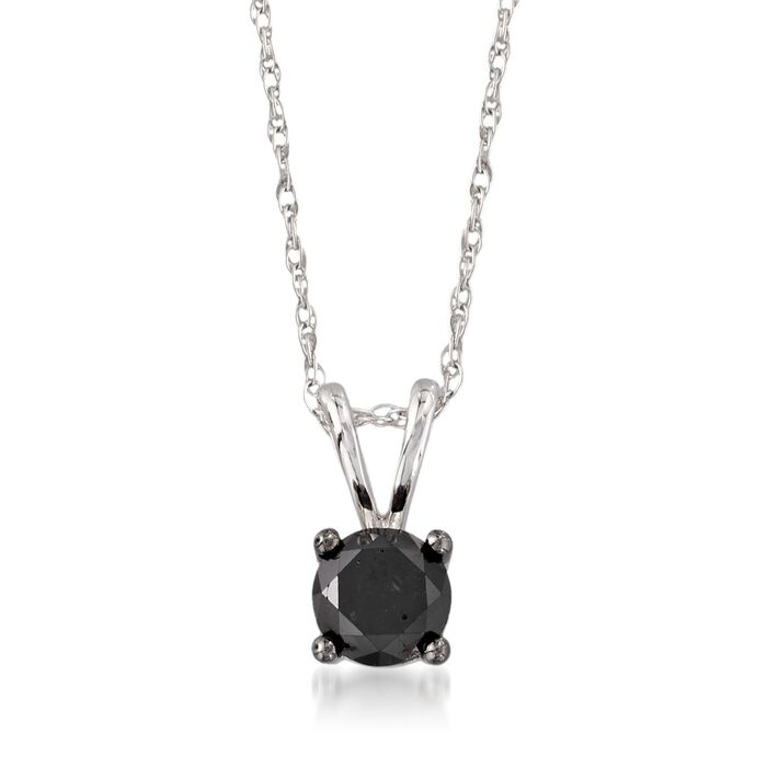 """1.00 Carat Black Diamond Solitaire Necklace in 14kt White Gold. 18"""""""