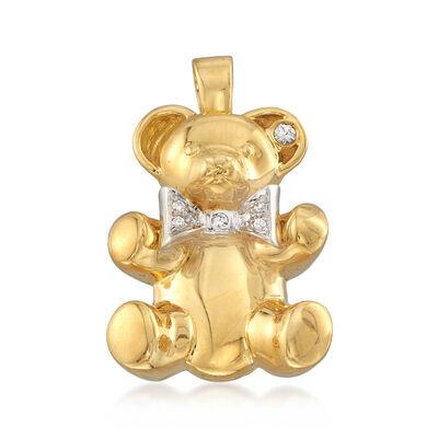C. 1990 Vintage .13 ct. t.w.  Diamond Teddy Bear Pin Pendant in 18kt Yellow Gold, , default