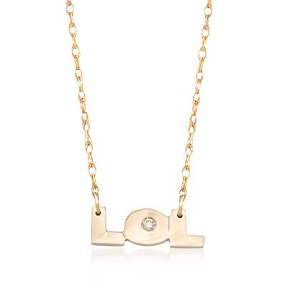 """14kt Yellow Gold """"Lol"""" Necklace With Diamond Accents, , default"""
