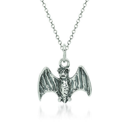 "Sterling Silver Bat Charm Necklace. 18"", , default"