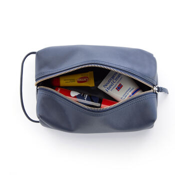 Royce Blue Leather Compact Toiletry Bag, , default