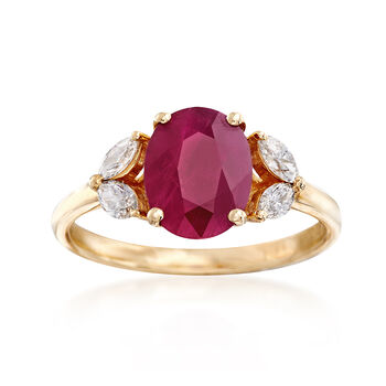 2.40 Carat Burmese Ruby and .15 ct. t.w. Diamond Ring in 18kt Yellow Gold, , default