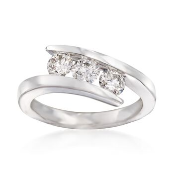 1.00 ct. t.w. Diamond Three-Stone Bypass Ring in 14kt White Gold, , default