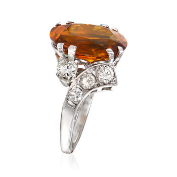 C. 1970 Vintage 6.48 Carat Citrine and 1.00 ct. t.w. Diamond Cocktail Ring in 14kt White Gold. Size 5.75, , default