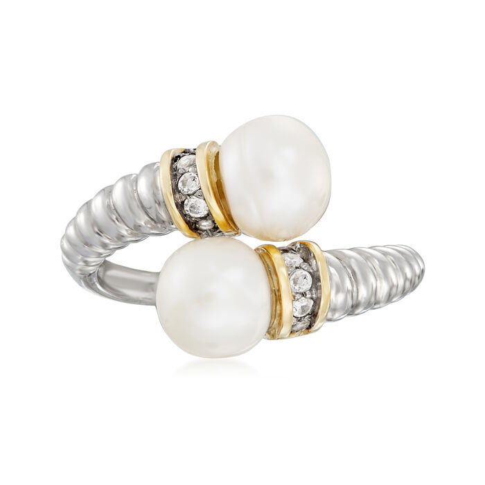 7-7.5mm Cultured Pearl and .10 ct. t.w. White Topaz Bypass Ring in Sterling Silver with 14kt Yellow Gold