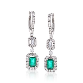 .90 ct. t.w. Emerald and .96 ct. t.w. Diamond Drop Earrings in 18kt White Gold, , default