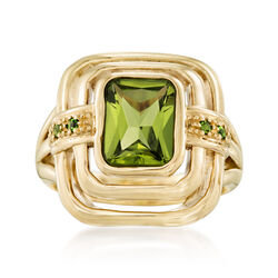 2.30 Carat Peridot Tiered Ring With Chrome Diopside in 14kt Yellow Gold, , default