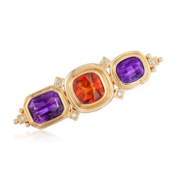 C. 1990 Vintage 11.80 ct. t.w. Amethyst and 4.95 Carat Citrine Pin With Diamond Accents in 18kt Gold, , default