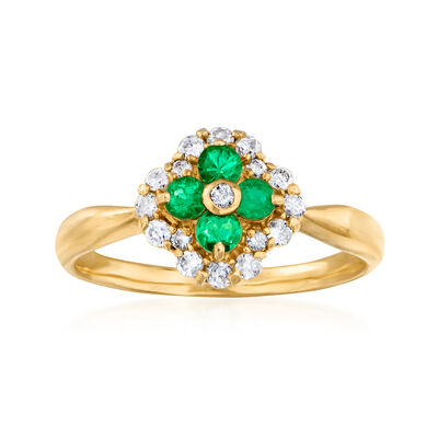 C. 1980 Vintage .23 ct. t.w. Diamond and .22 ct. t.w. Emerald Ring in 18kt Yellow Gold