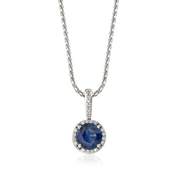 """1.25 Carat Sapphire and .20 ct. t.w. Diamond Halo Pendant Necklace in 14kt White Gold. 18"""", , default"""