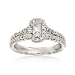 Henri Daussi .70 ct. t.w. Diamond Halo Engagement Ring in 18kt White Gold  , , default