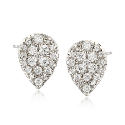 1.00 ct. t.w. Diamond Pear-Shape Cluster Earrings in 14kt White Gold, , default