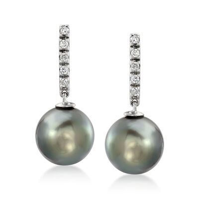10-11mm Black Tahitian Pearl and .10 ct. t.w. Diamond Drop Earrings in 14kt White Gold