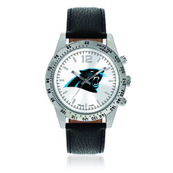 Men's 44mm NFL Carolina Panthers Stainless Steel Letterman Watch With Black Leather Strap, , default