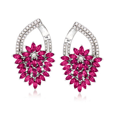 5.00 ct. t.w. Ruby and .62 ct. t.w. Diamond Floral Drop Earrings in 14kt White Gold, , default