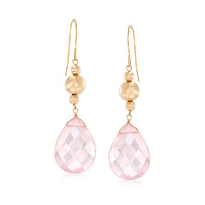 Rose Quartz and 14kt Yellow Gold Bead Drop Earrings, , default