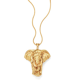Elephant Pendant Necklace in 14kt Yellow Gold