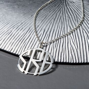 Sterling Silver Open Block Monogram Pendant Necklace