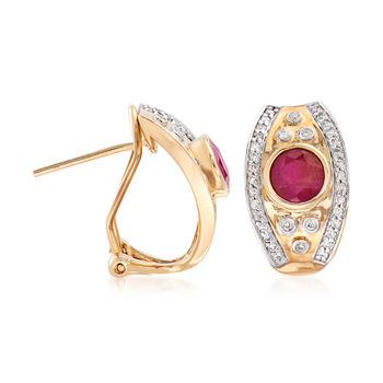 1.20 ct. t.w. Ruby and .24 ct. t.w. Diamond Earrings in 14kt Yellow Gold, , default
