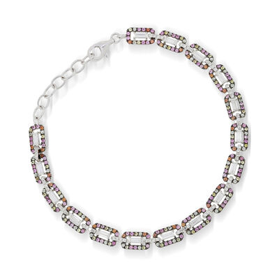 1.75 ct. t.w. Multicolored Sapphire and .94 ct. t.w. Diamond Link Bracelet with Black Rhodium in 18kt White Gold