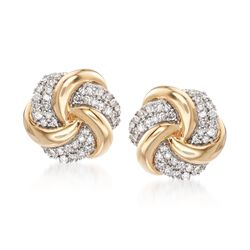 .25 ct. t.w. Diamond Swirl Knot Earrings in 14kt Yellow Gold, , default