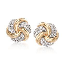 .25 ct. t.w. Diamond Swirl Knot Earrings in 14kt Yellow Gold, , default