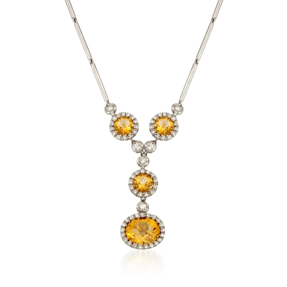 570 ct tw citrine and 78 ct tw diamond pendant necklace in tw citrine and 78 ct tw diamond pendant necklace in 18kt aloadofball Images