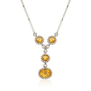 "5.70 ct. t.w. Citrine and .78 ct. t.w. Diamond Pendant Necklace in 18kt White Gold. 16"", , default"