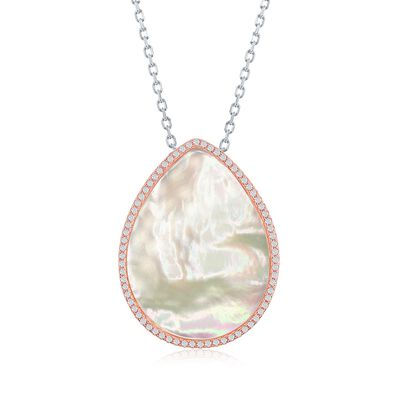 Mother-Of-Pearl and .55 ct. t.w. CZ Drop Necklace in Two-Tone Sterling Silver, , default
