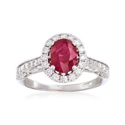 1.40 Carat Ruby and .69 ct. t.w. Diamond Ring in 18kt White Gold, , default