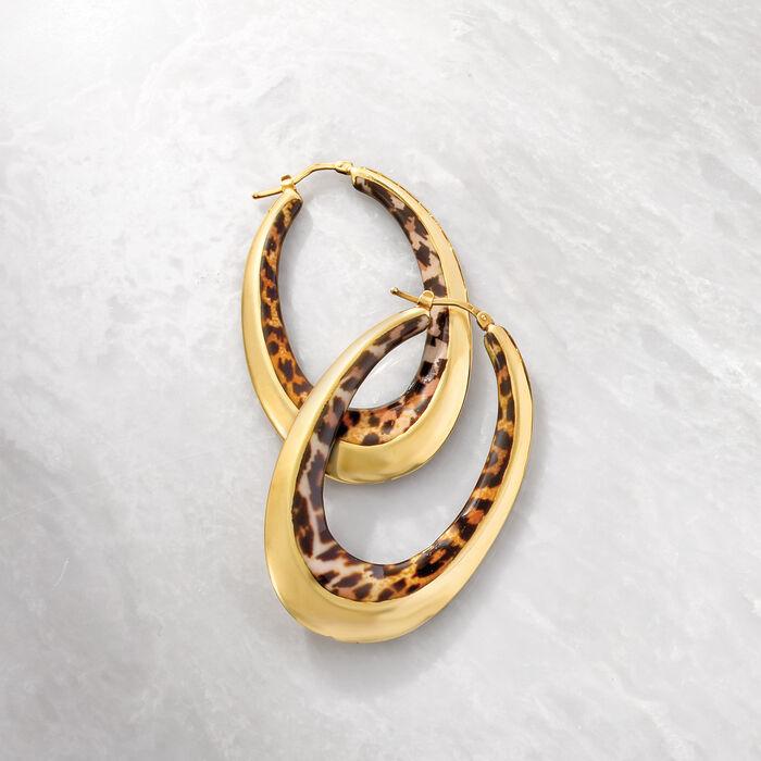 Italian Leopard-Print Enamel Oval Hoop Earrings in 14kt Yellow Gold