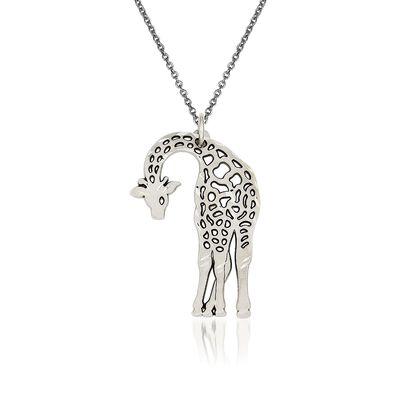 14kt White Gold Giraffe Pendant Necklace, , default