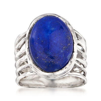 Lapis Openwork Ring in Sterling Silver