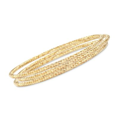Italian 18kt Yellow Gold Over Sterling Jewlery Set: Three Diamond-Cut Bangle Bracelets, , default