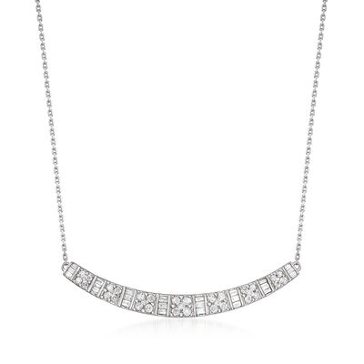 .76 ct. t.w. Diamond Curved Bar Necklace in Sterling Silver, , default