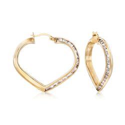 "C. 1990 Vintage 7.80 ct. t.w. CZ Heart Hoop Earrings in 10kt Yellow Gold. 1 1/4"", , default"