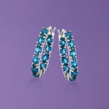 """4.30 ct. t.w. London Blue Topaz Inside-Outside Hoop Earrings in Sterling Silver. 7/8"""""""