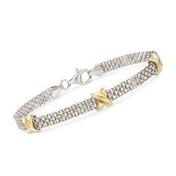 Sterling Silver and 14kt Yellow Gold Bismark Link Chain Bracelet, , default