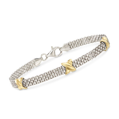 Sterling Silver and 14kt Yellow Gold Bismark Link Chain Bracelet, , default