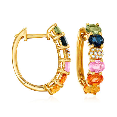 2.20 ct. t.w. Multicolored Sapphire Hoop Earrings with Diamond Accents in 14kt Yellow Gold