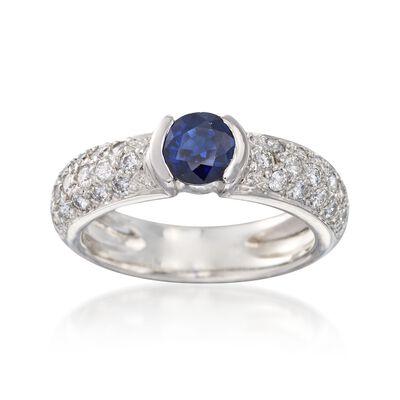 C. 1990 Vintage .60 Carat Sapphire and .60 ct. t.w. Diamond Ring in Platinum, , default