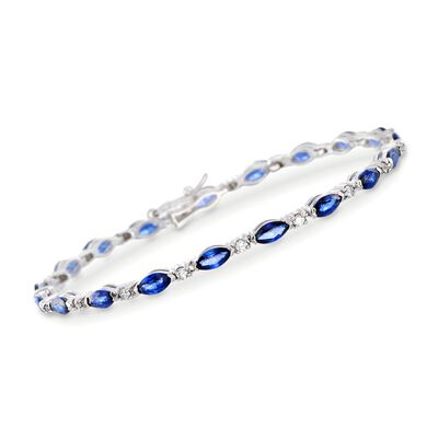 6.00 ct. t.w. Sapphire and .60 ct. t.w. Diamond Bracelet in 14kt White Gold, , default