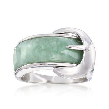Green Jade Buckle Ring in Sterling Silver, , default