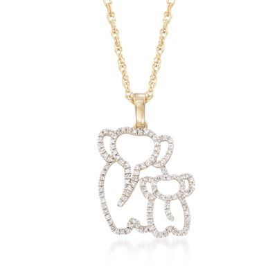 .15 ct. t.w. Diamond Elephant Duo Pendant Necklace in 14kt Gold Over Sterling, , default