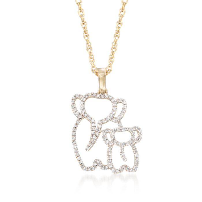 """.15 ct. t.w. Diamond Elephant Duo Pendant Necklace in 14kt Gold Over Sterling. 18"""""""