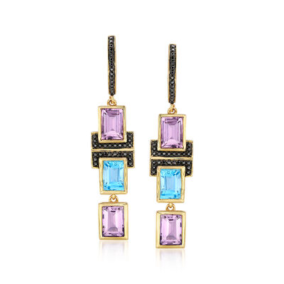 5.60 ct. t.w. Multi-Stone Drop Earrings in 18kt Gold Over Sterling, , default