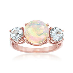 Opal and 1.00 ct. t.w. Aquamarine Ring in 14kt Rose Gold Over Sterling, , default