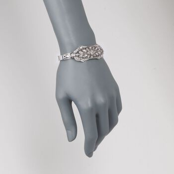 "C. 1970 Vintage 3.00 ct. t.w. Diamond Openwork Bangle Bracelet in 14kt White Gold. 7.5"", , default"