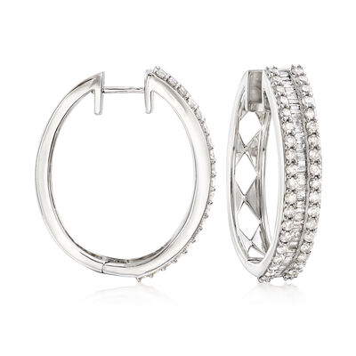 3.00 ct. t.w. Baguette and Round Diamond Hoop Earrings in Sterling Silver, , default